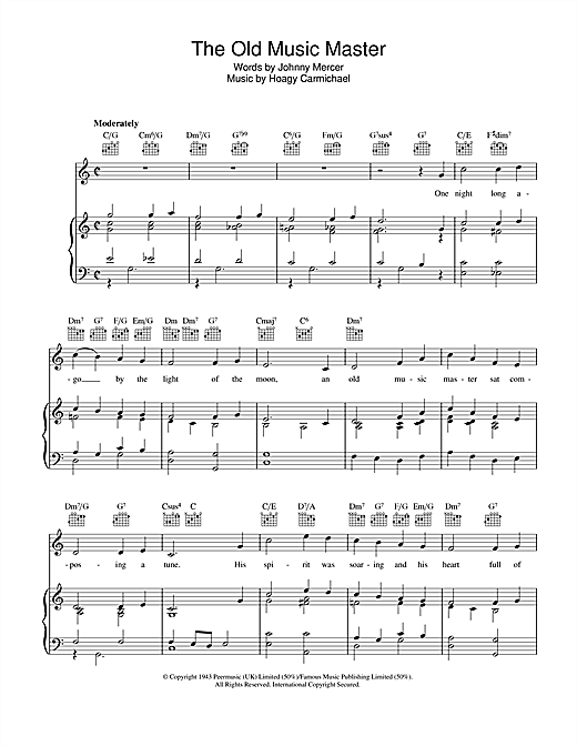 Johnny Mercer The Old Music Master sheet music notes and chords. Download Printable PDF.