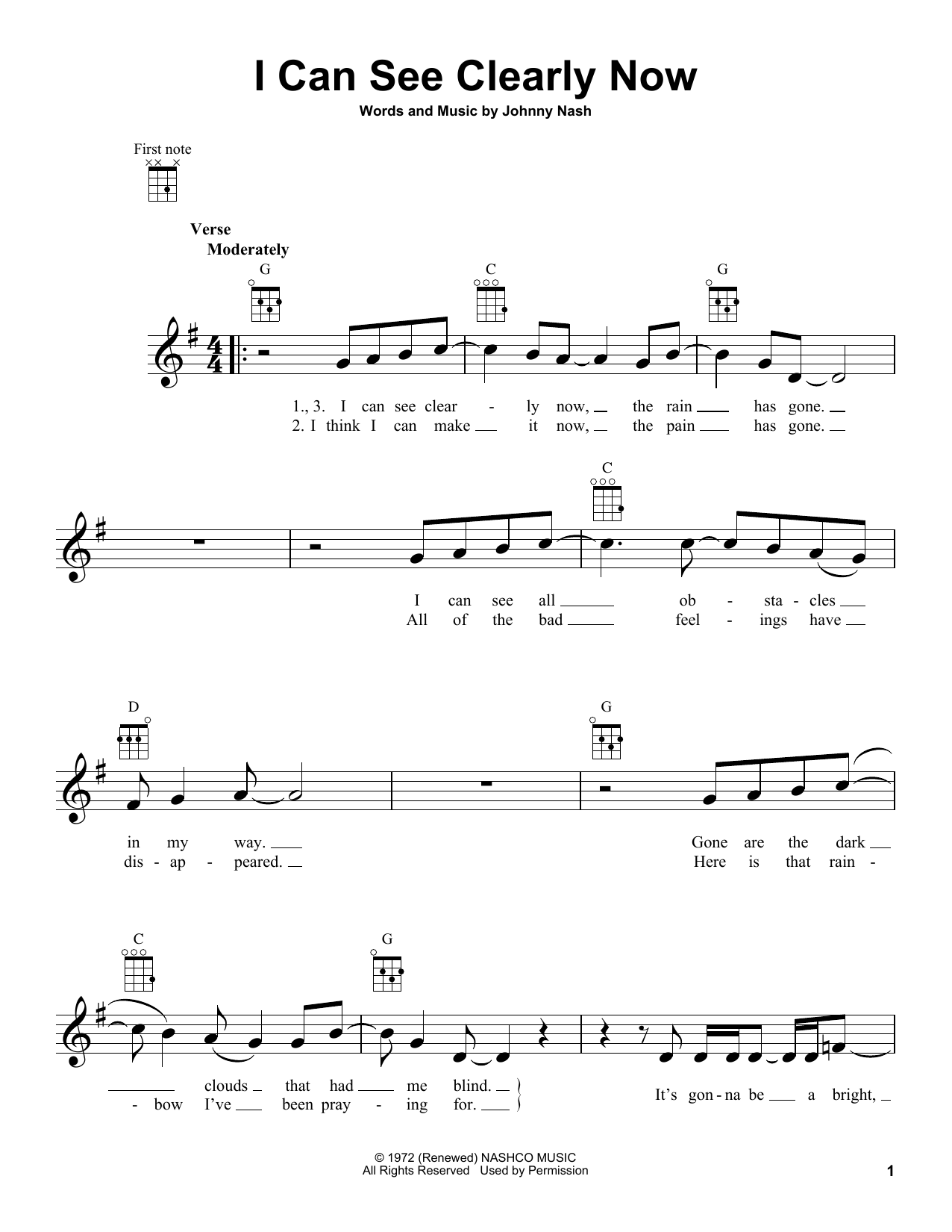 Johnny Nash I Can See Clearly Now Sheet Music Pdf Notes Chords Pop Score Ukulele Download Printable Sku 124400