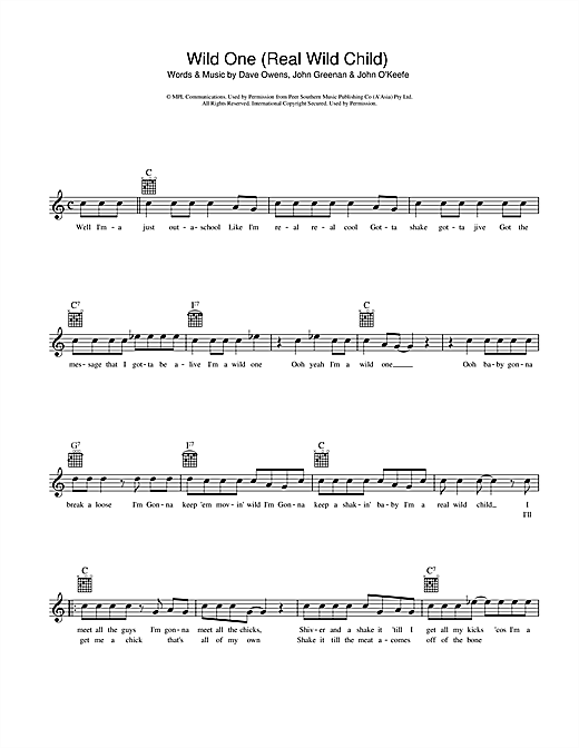 Johnny O'Keefe Real Wild Child (Wild One) sheet music notes and chords. Download Printable PDF.