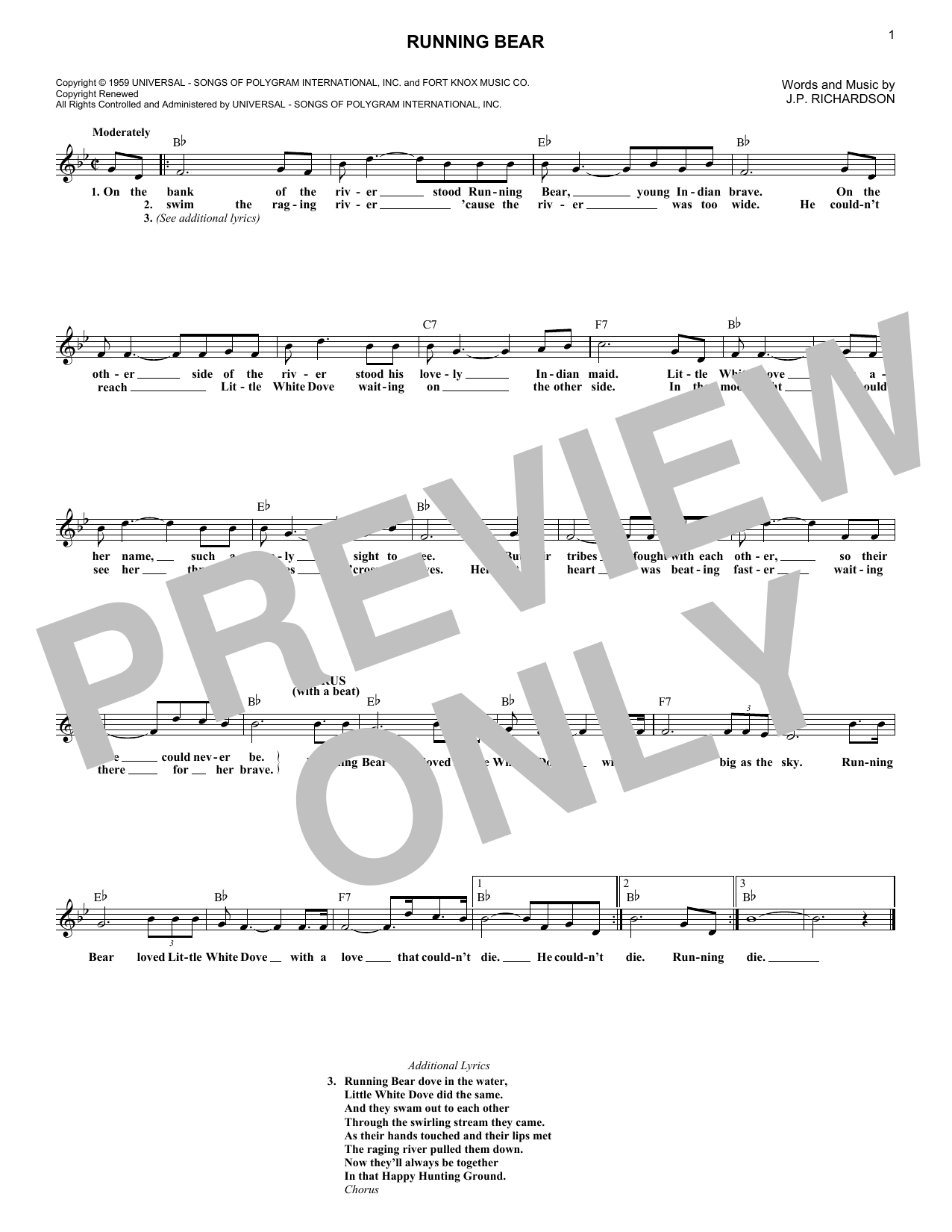 Johnny Preston Running Bear sheet music notes and chords. Download Printable PDF.