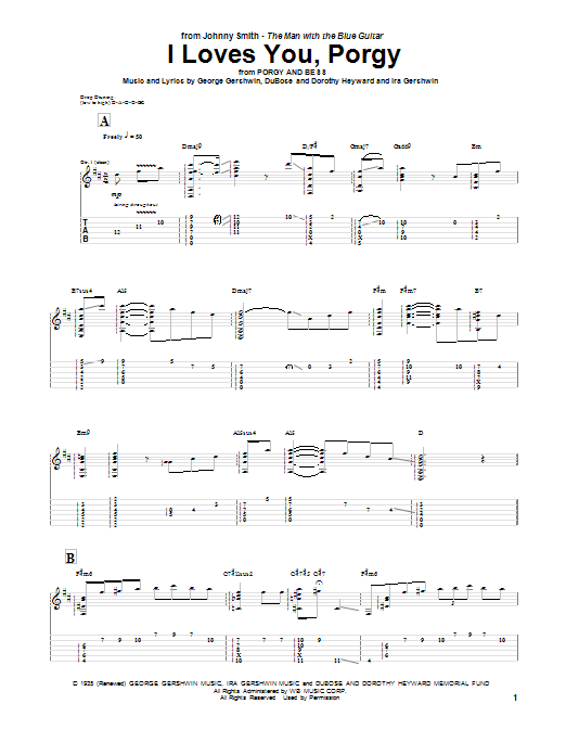 Johnny Smith I Loves You, Porgy sheet music notes and chords. Download Printable PDF.