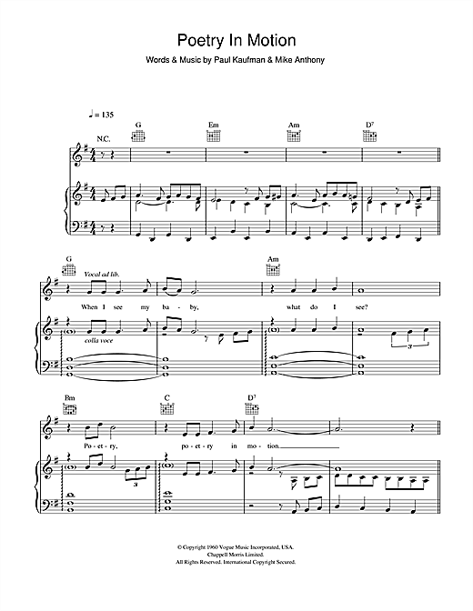 Johnny Tillotson Poetry In Motion sheet music notes and chords. Download Printable PDF.