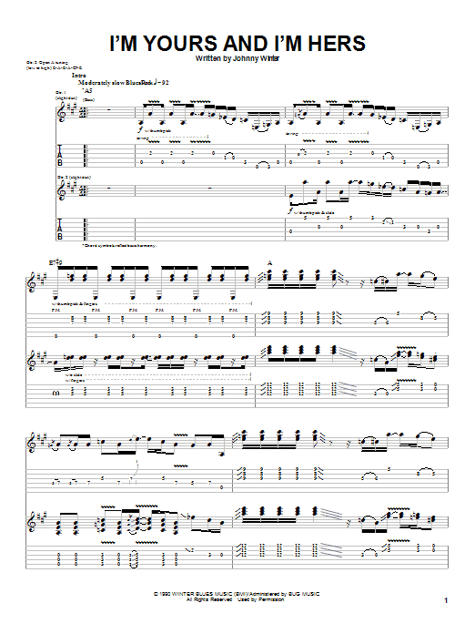 Johnny Winter I'm Yours and I'm Hers sheet music notes and chords