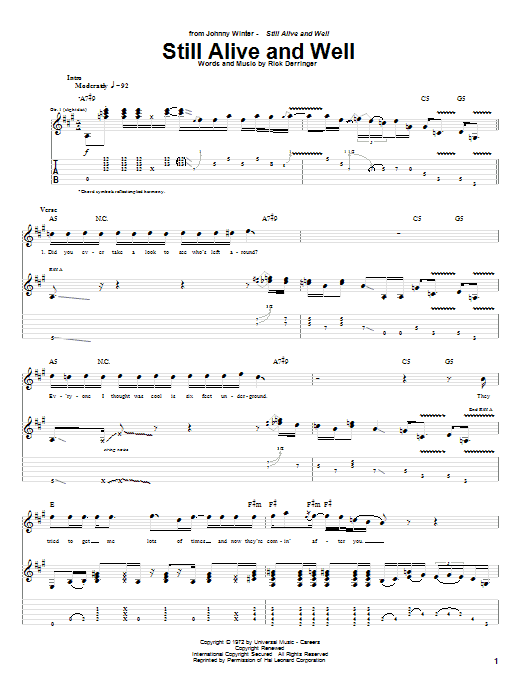 Johnny Winter Still Alive And Well sheet music notes and chords. Download Printable PDF.