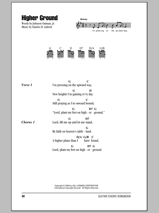 Johnson Oatman Jr. Higher Ground sheet music notes and chords. Download Printable PDF.