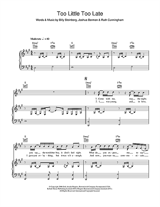 JoJo Too Little, Too Late sheet music notes and chords. Download Printable PDF.
