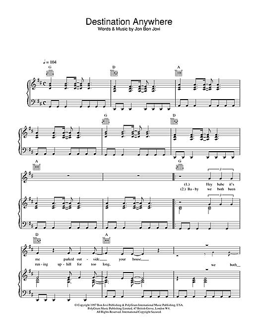 Jon Bon Jovi Destination Anywhere sheet music notes and chords. Download Printable PDF.