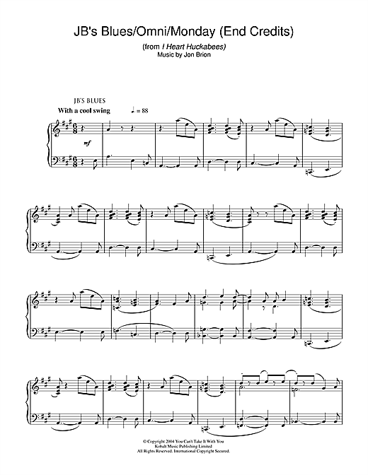 Jon Brion JB's Blues/Omni/Monday (End Credits) (from I Heart Huckabees) sheet music notes and chords. Download Printable PDF.