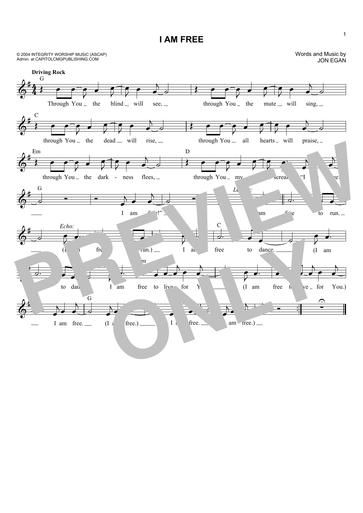 Jon Egan I Am Free sheet music notes and chords. Download Printable PDF.