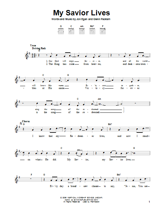 Jon Egan My Savior Lives sheet music notes and chords. Download Printable PDF.