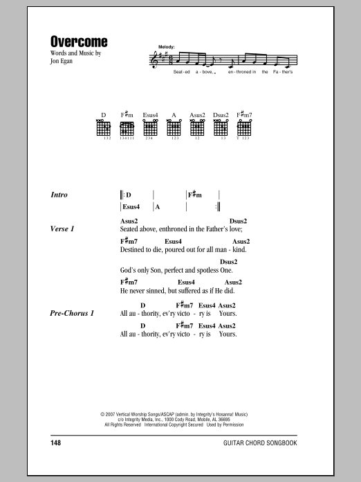 Jon Egan Overcome sheet music notes and chords. Download Printable PDF.