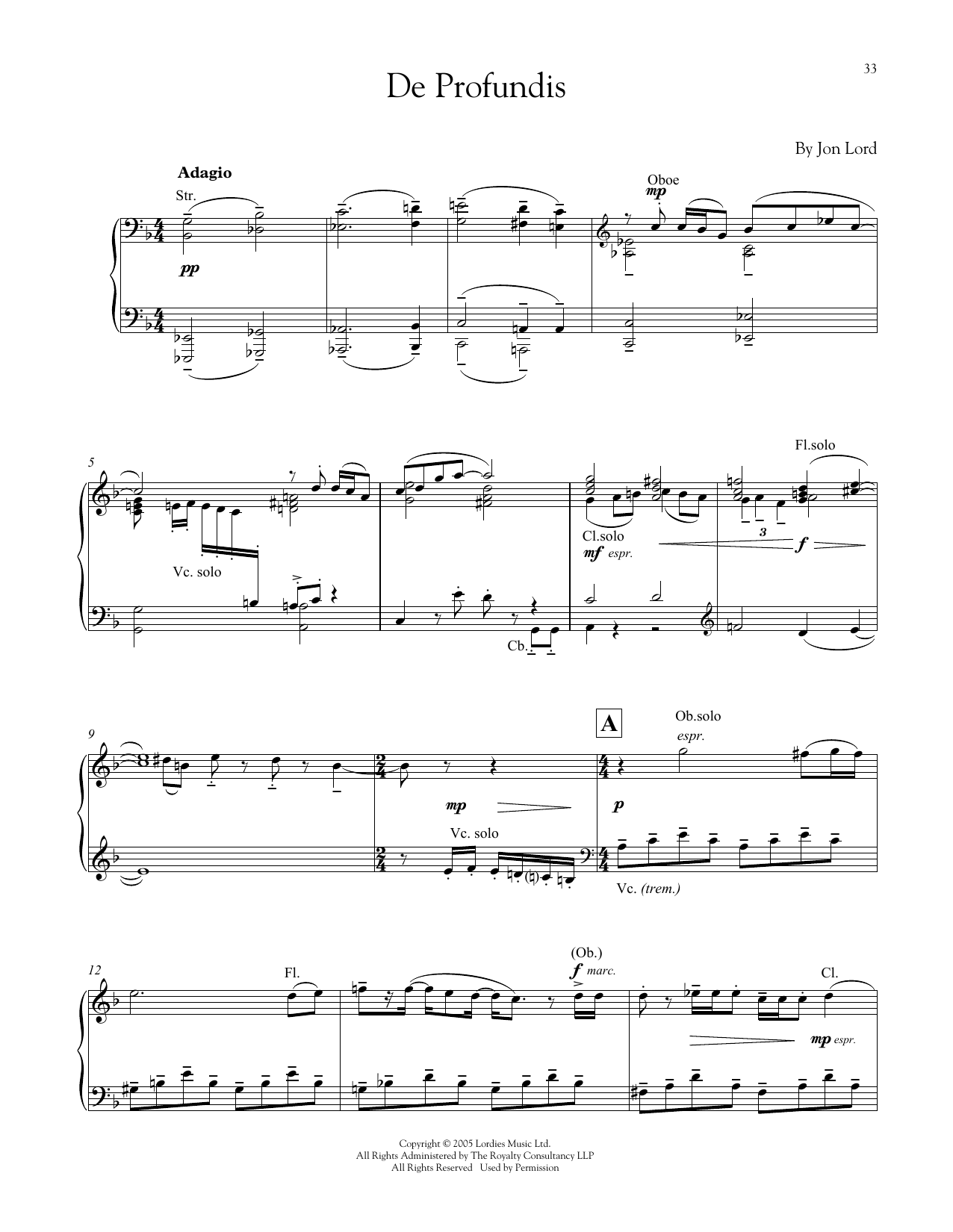 Jon Lord De Profundis sheet music notes and chords. Download Printable PDF.