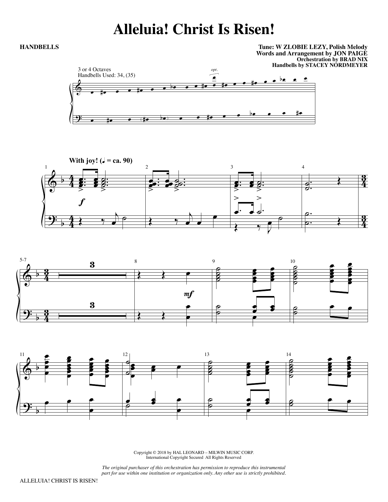 Jon Paige Alleluia! Christ Is Risen! - Handbells sheet music notes and chords