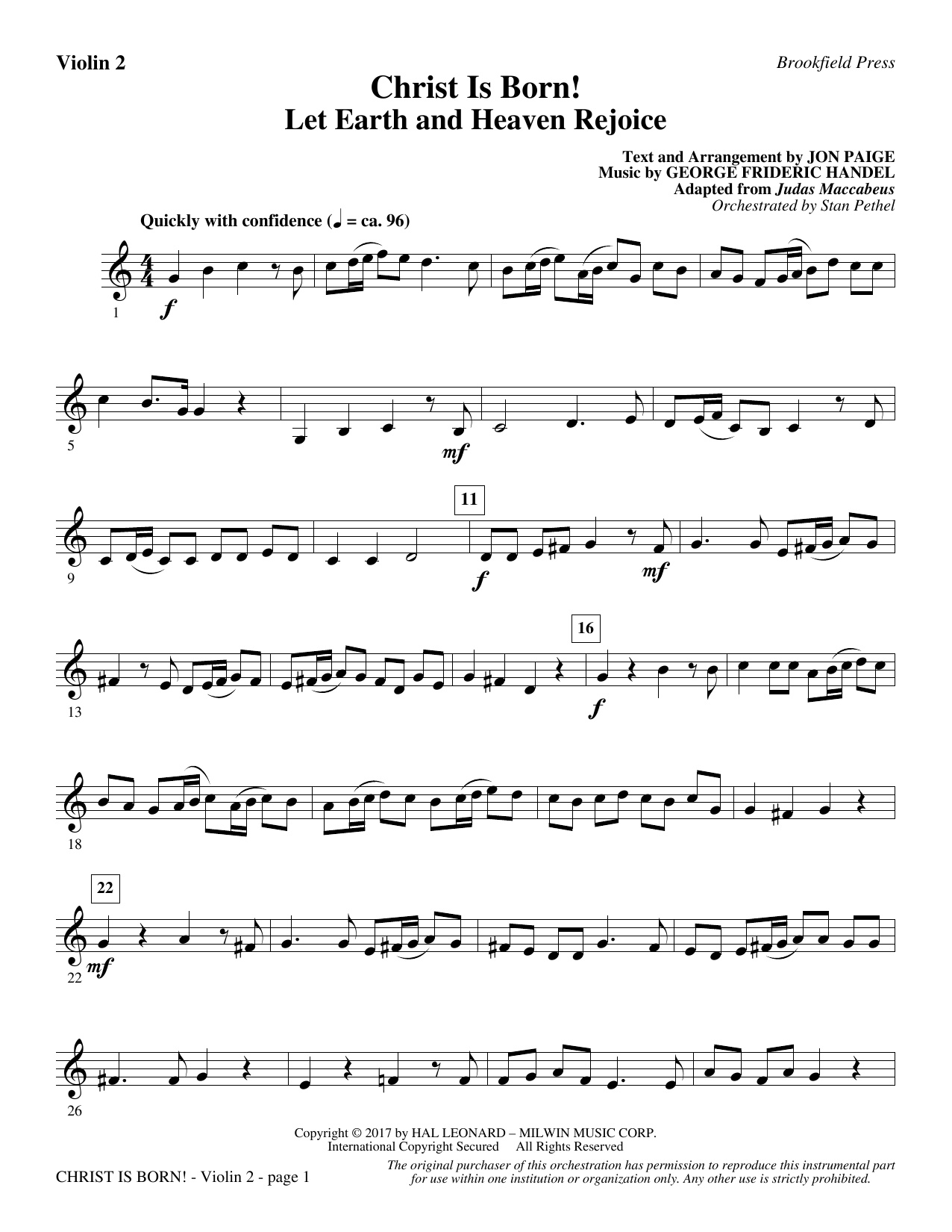Jon Paige Christ Is Born! - Violin 2 sheet music notes and chords. Download Printable PDF.