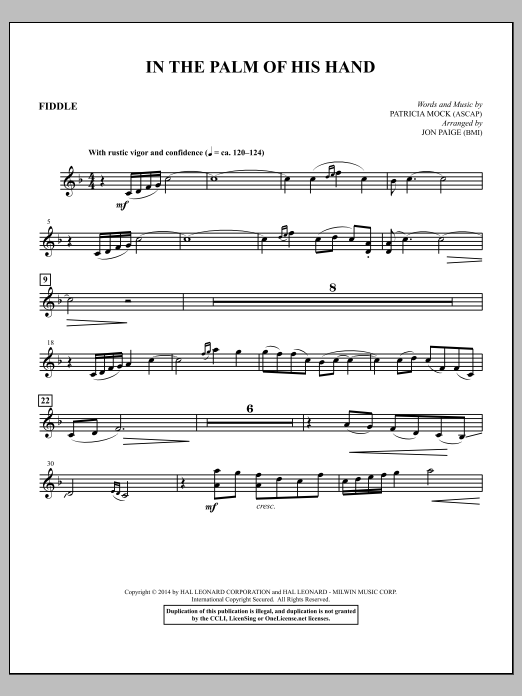 Jon Paige In the Palm of His Hand - Fiddle sheet music notes and chords. Download Printable PDF.