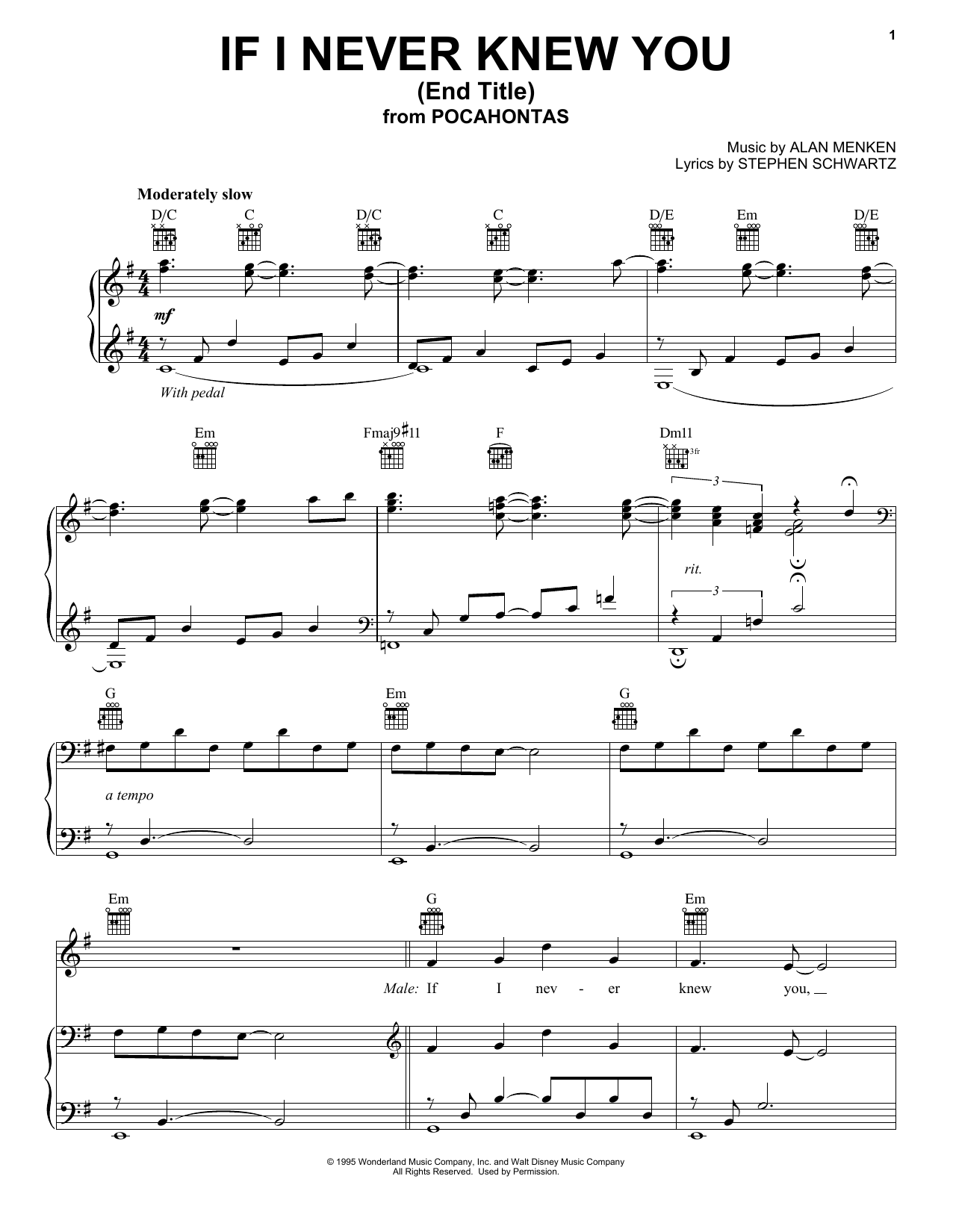 Jon Secada If I Never Knew You (Love Theme from POCAHONTAS) sheet music notes and chords