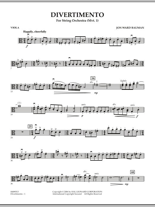 Jon Ward Bauman Divertimento for String Orchestra (Mvt. 1) - Viola sheet music notes and chords. Download Printable PDF.