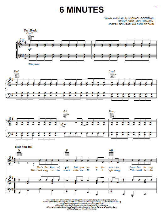 Jonas Brothers 6 Minutes sheet music notes and chords