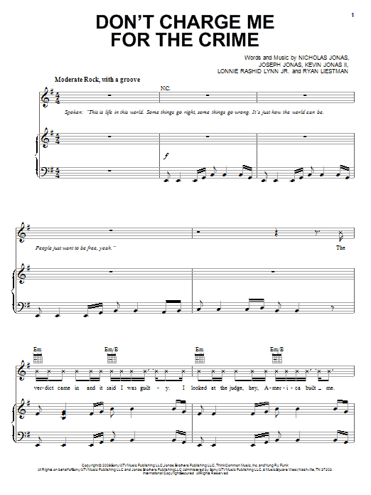 Jonas Brothers Don't Charge Me For The Crime sheet music notes and chords. Download Printable PDF.