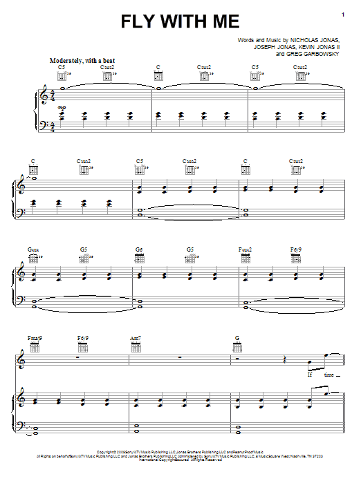 Jonas Brothers Fly With Me sheet music notes and chords. Download Printable PDF.