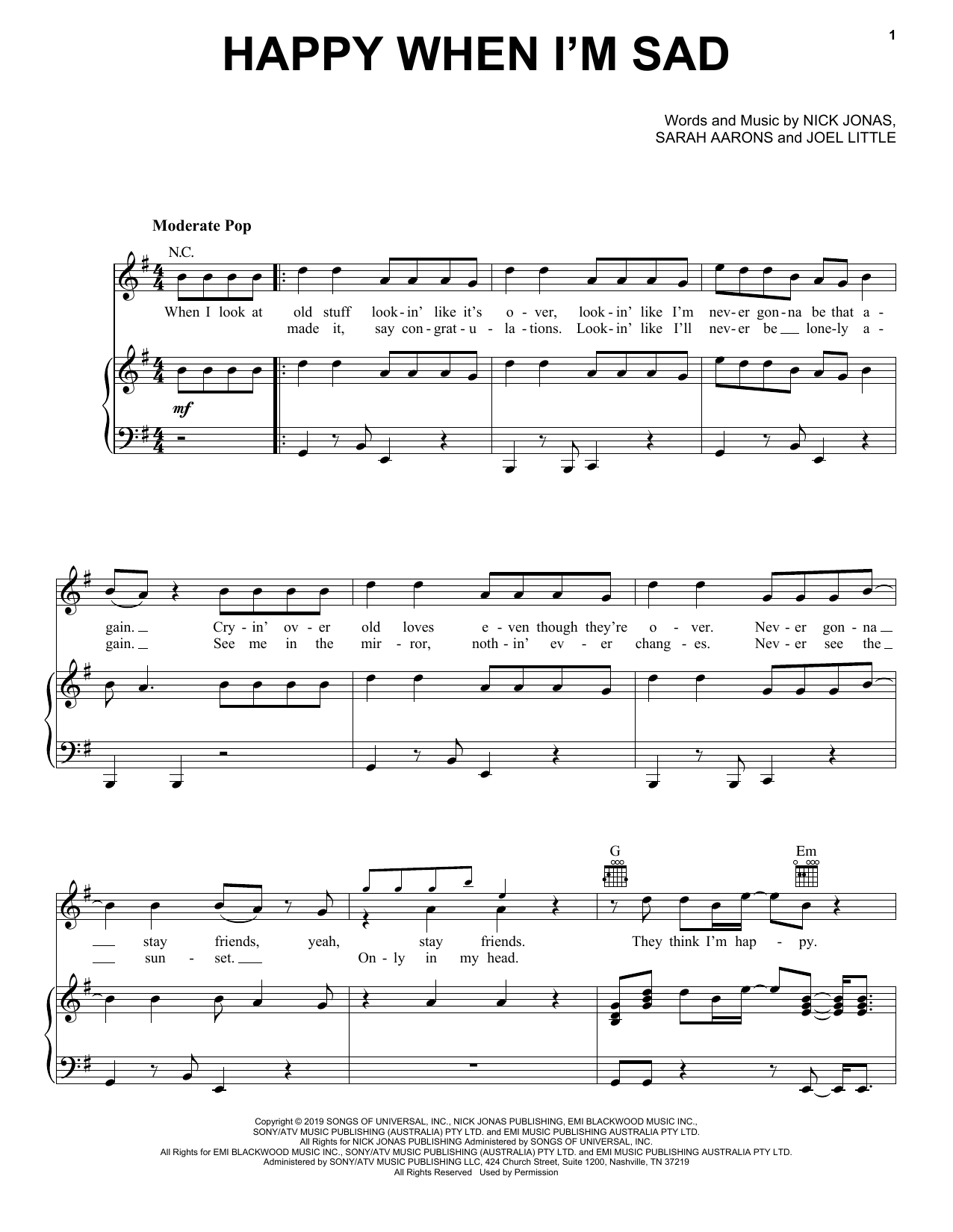 Jonas Brothers Happy When I'm Sad sheet music notes and chords. Download Printable PDF.