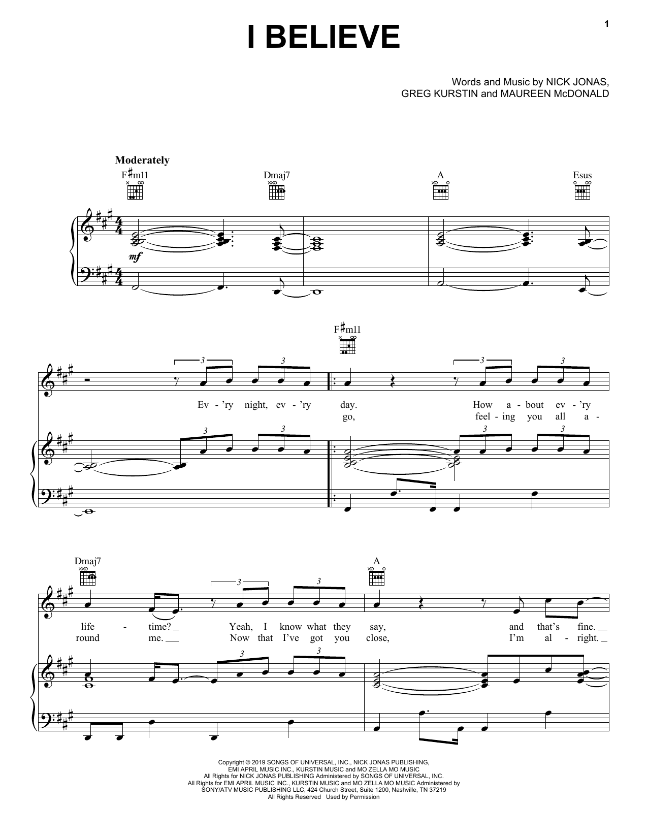 Jonas Brothers I Believe sheet music notes and chords. Download Printable PDF.