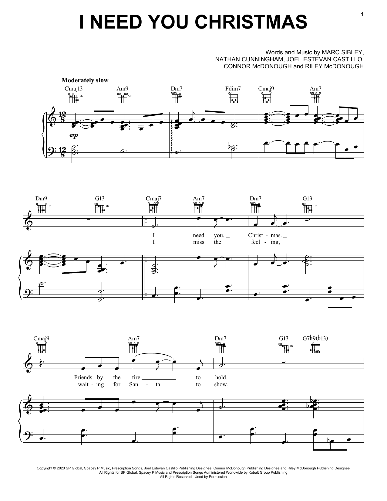 Jonas Brothers I Need You Christmas sheet music notes and chords. Download Printable PDF.