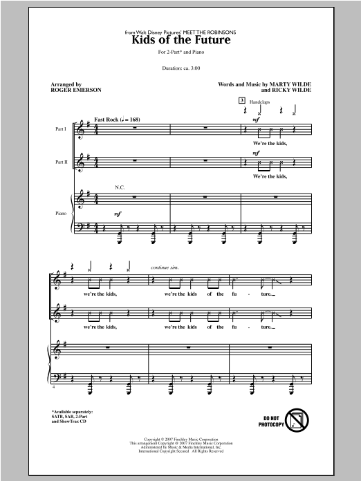 Jonas Brothers Kids Of The Future (arr. Roger Emerson) sheet music notes and chords. Download Printable PDF.