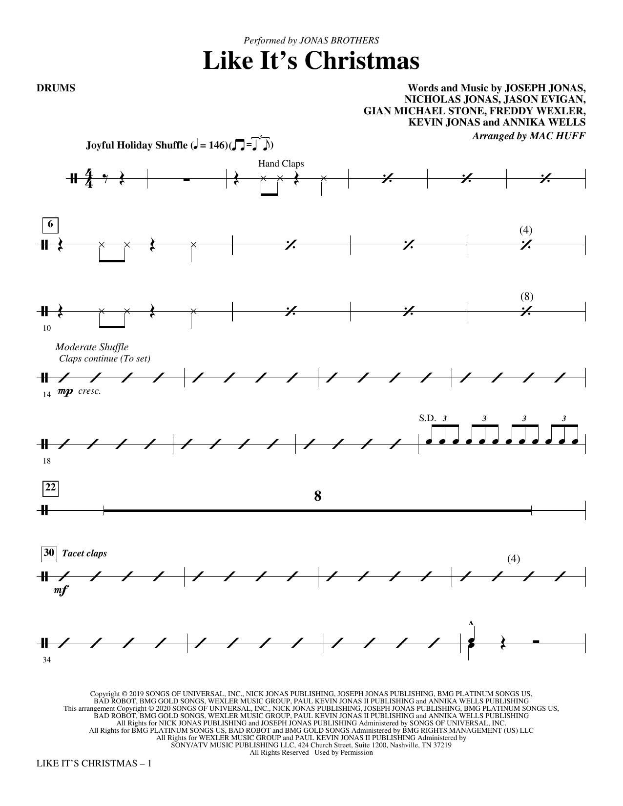 Jonas Brothers Like It's Christmas (arr. Mac Huff) - Drums sheet music notes and chords. Download Printable PDF.