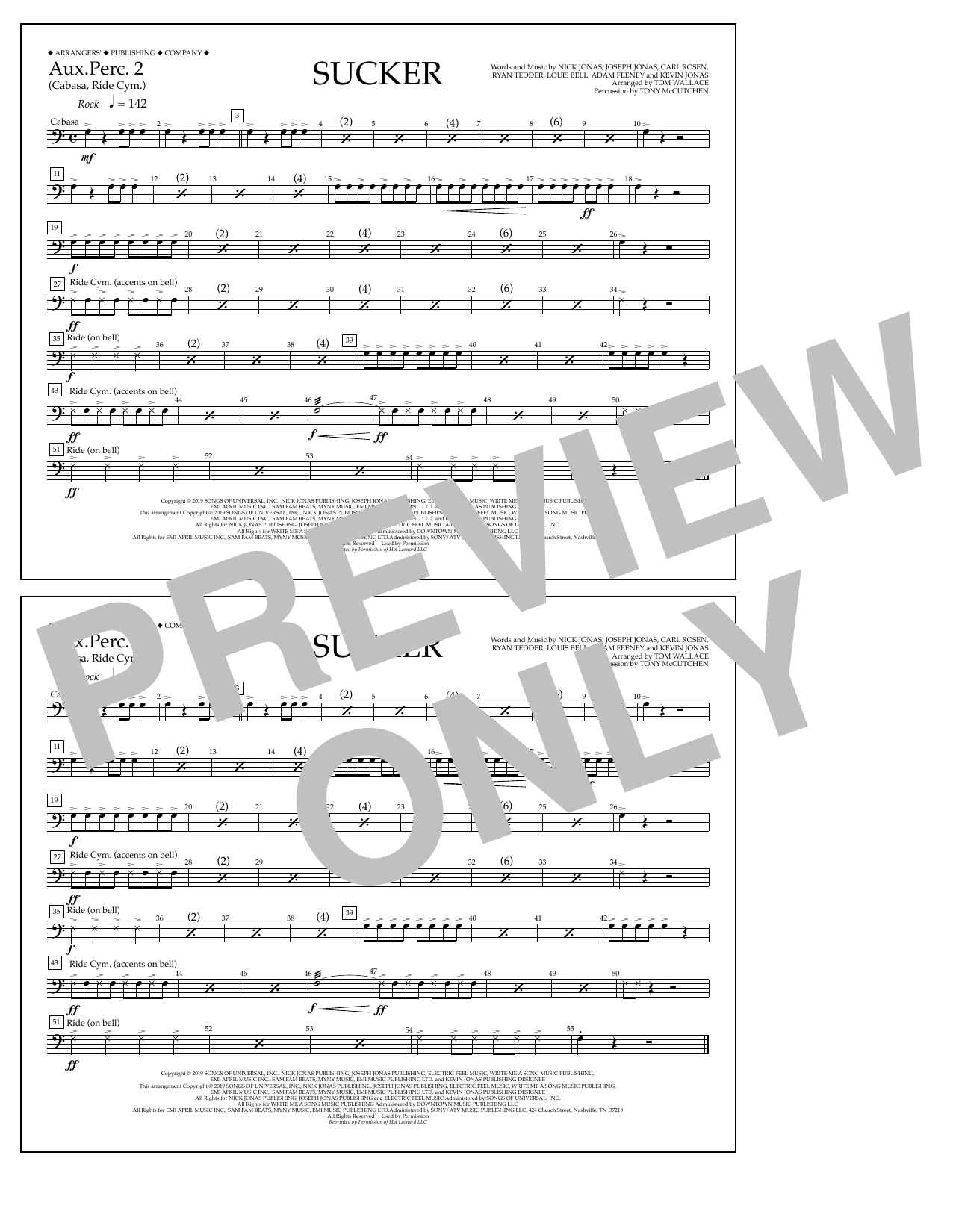 Jonas Brothers Sucker (arr. Tom Wallace) - Aux. Perc. 2 sheet music notes and chords