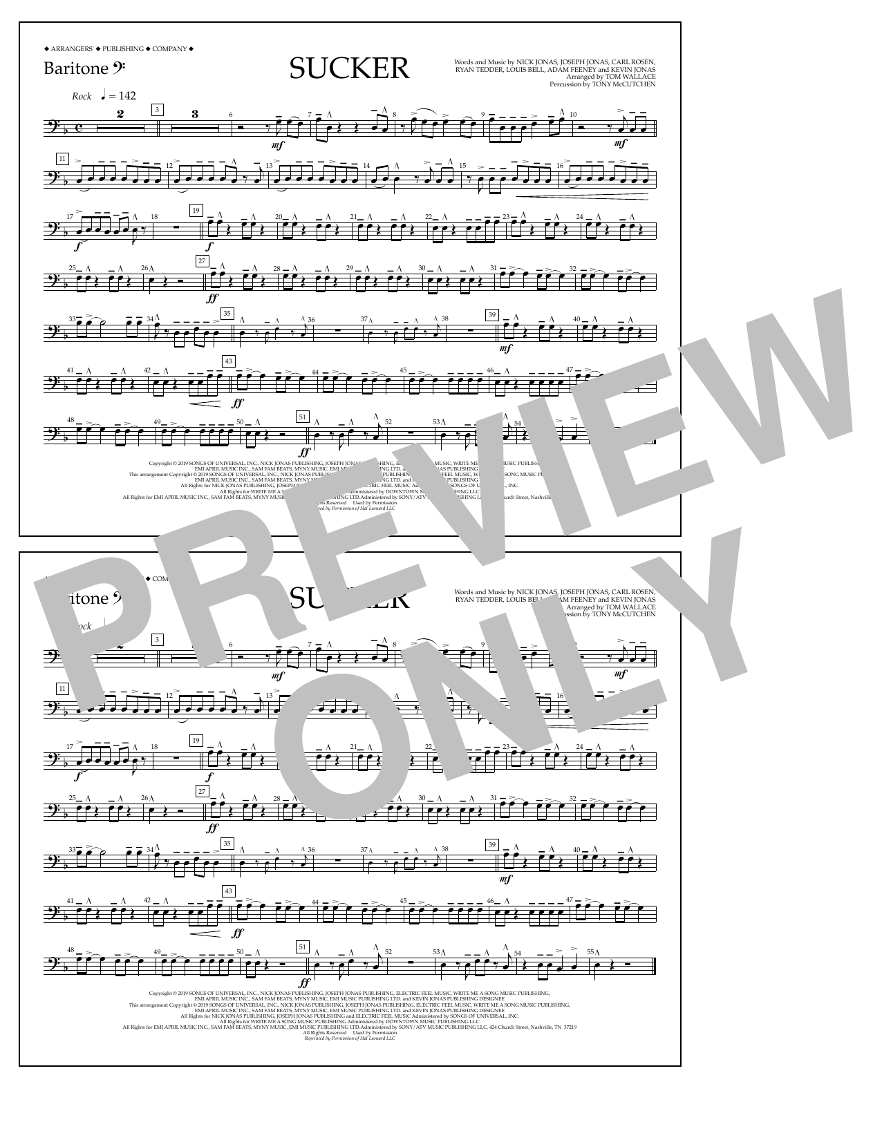 Jonas Brothers Sucker (arr. Tom Wallace) - Baritone B.C. sheet music notes and chords
