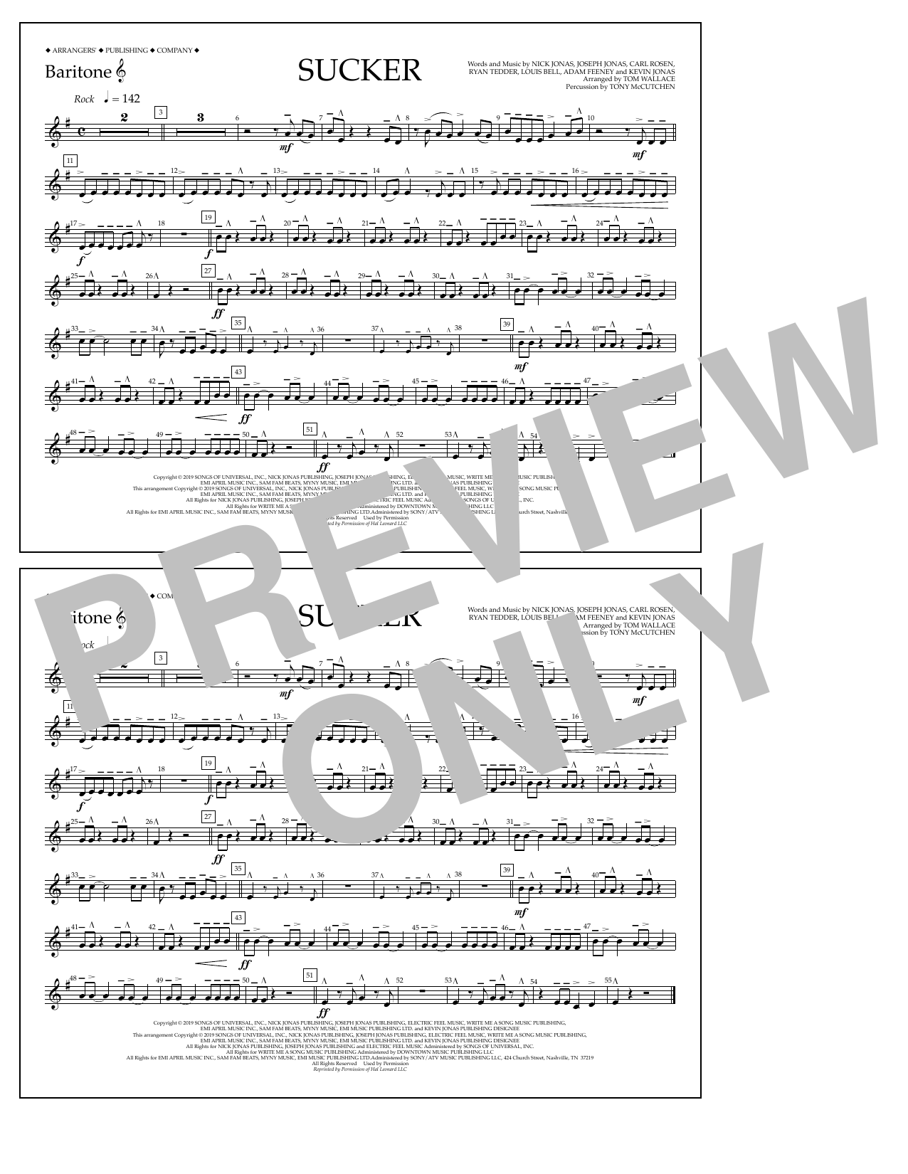 Jonas Brothers Sucker (arr. Tom Wallace) - Baritone T.C. sheet music notes and chords