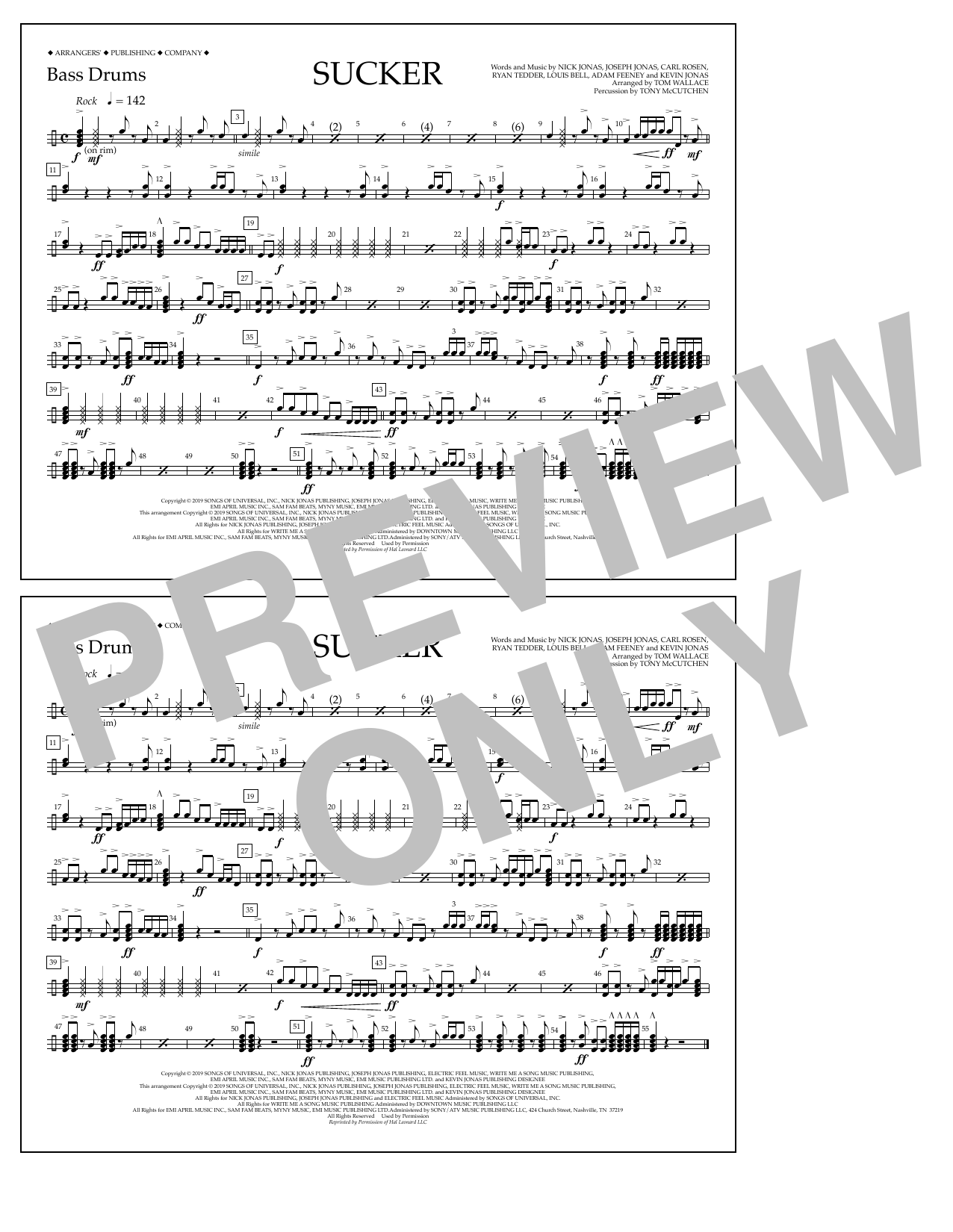Jonas Brothers Sucker (arr. Tom Wallace) - Bass Drums sheet music notes and chords. Download Printable PDF.