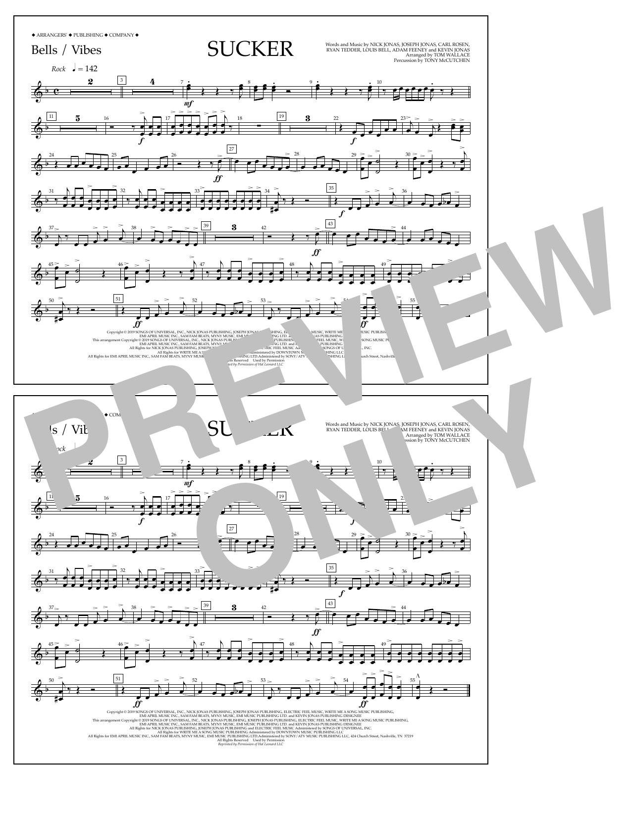 Jonas Brothers Sucker (arr. Tom Wallace) - Bells/Vibes sheet music notes and chords