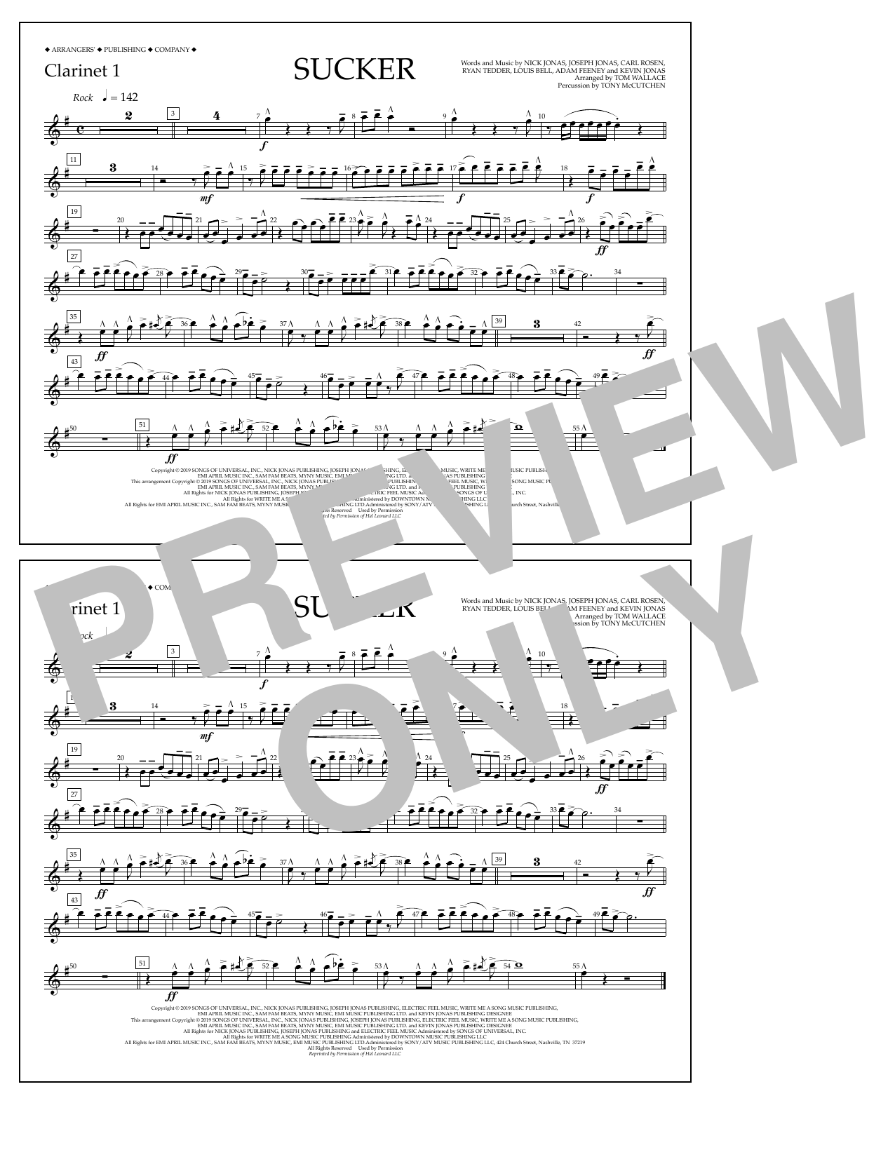 Jonas Brothers Sucker (arr. Tom Wallace) - Clarinet 1 sheet music notes and chords