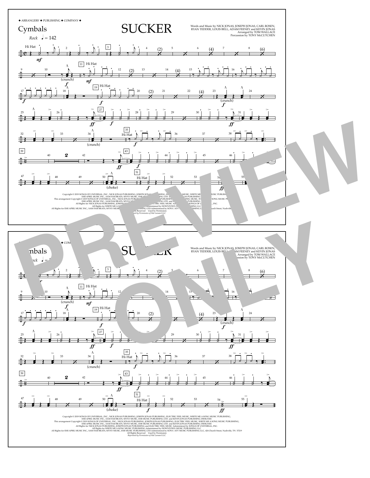 Jonas Brothers Sucker (arr. Tom Wallace) - Cymbals sheet music notes and chords