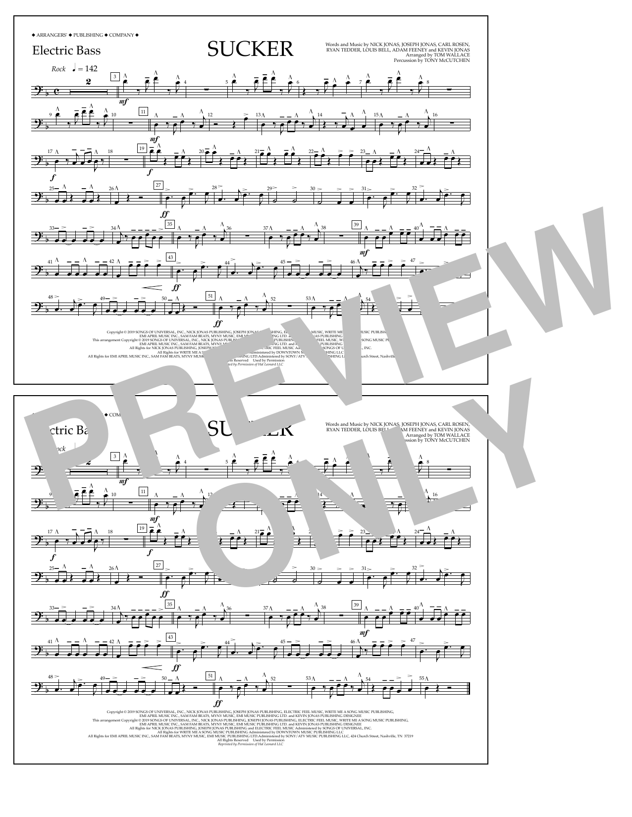 Jonas Brothers Sucker (arr. Tom Wallace) - Electric Bass sheet music notes and chords