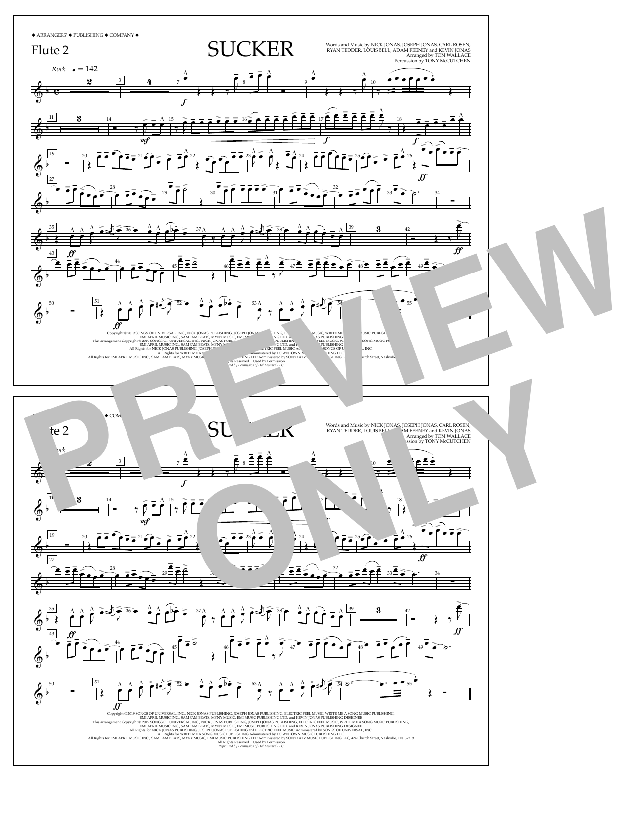 Jonas Brothers Sucker (arr. Tom Wallace) - Flute 2 sheet music notes and chords