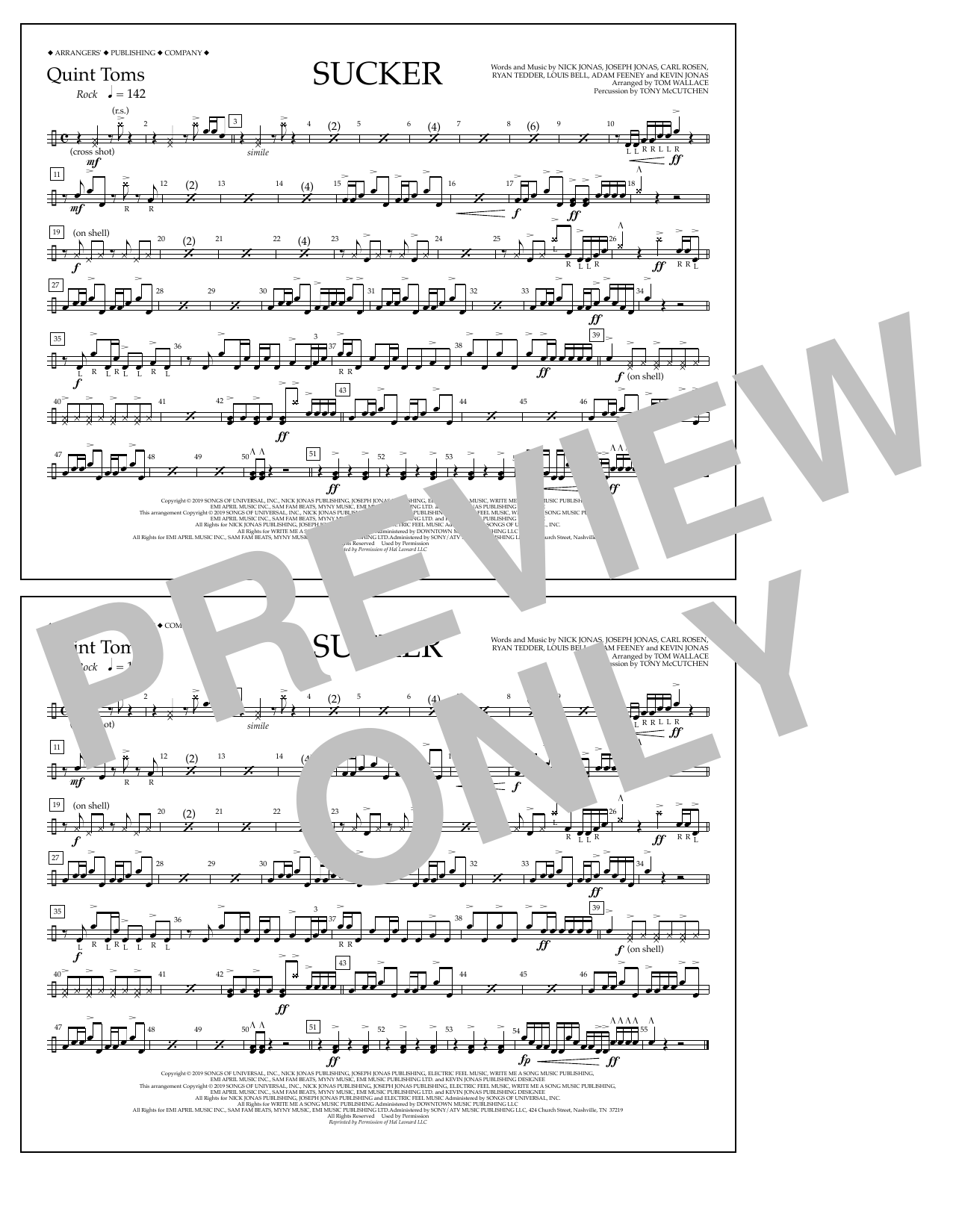 Jonas Brothers Sucker (arr. Tom Wallace) - Quint-Toms sheet music notes and chords