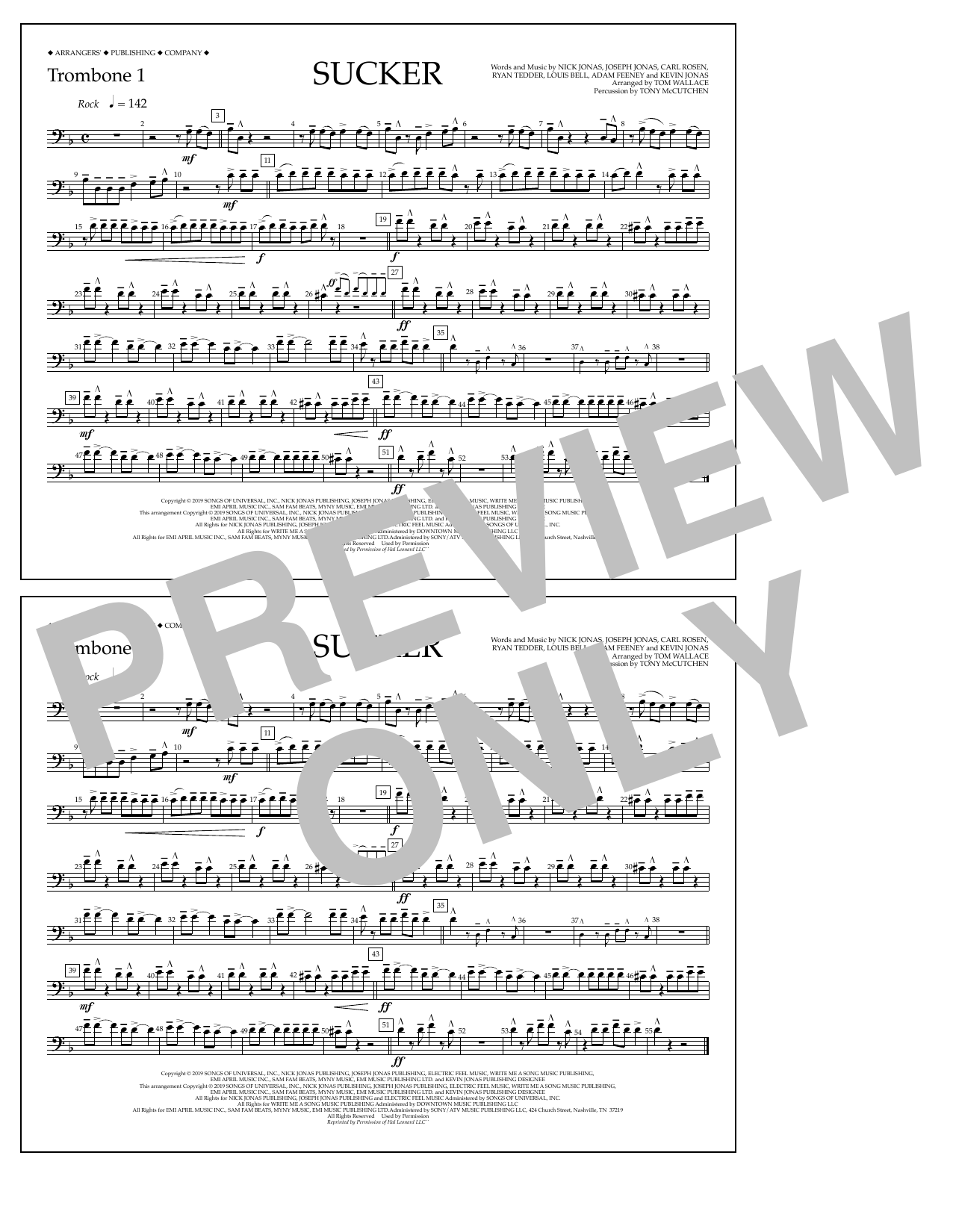 Jonas Brothers Sucker (arr. Tom Wallace) - Trombone 1 sheet music notes and chords. Download Printable PDF.
