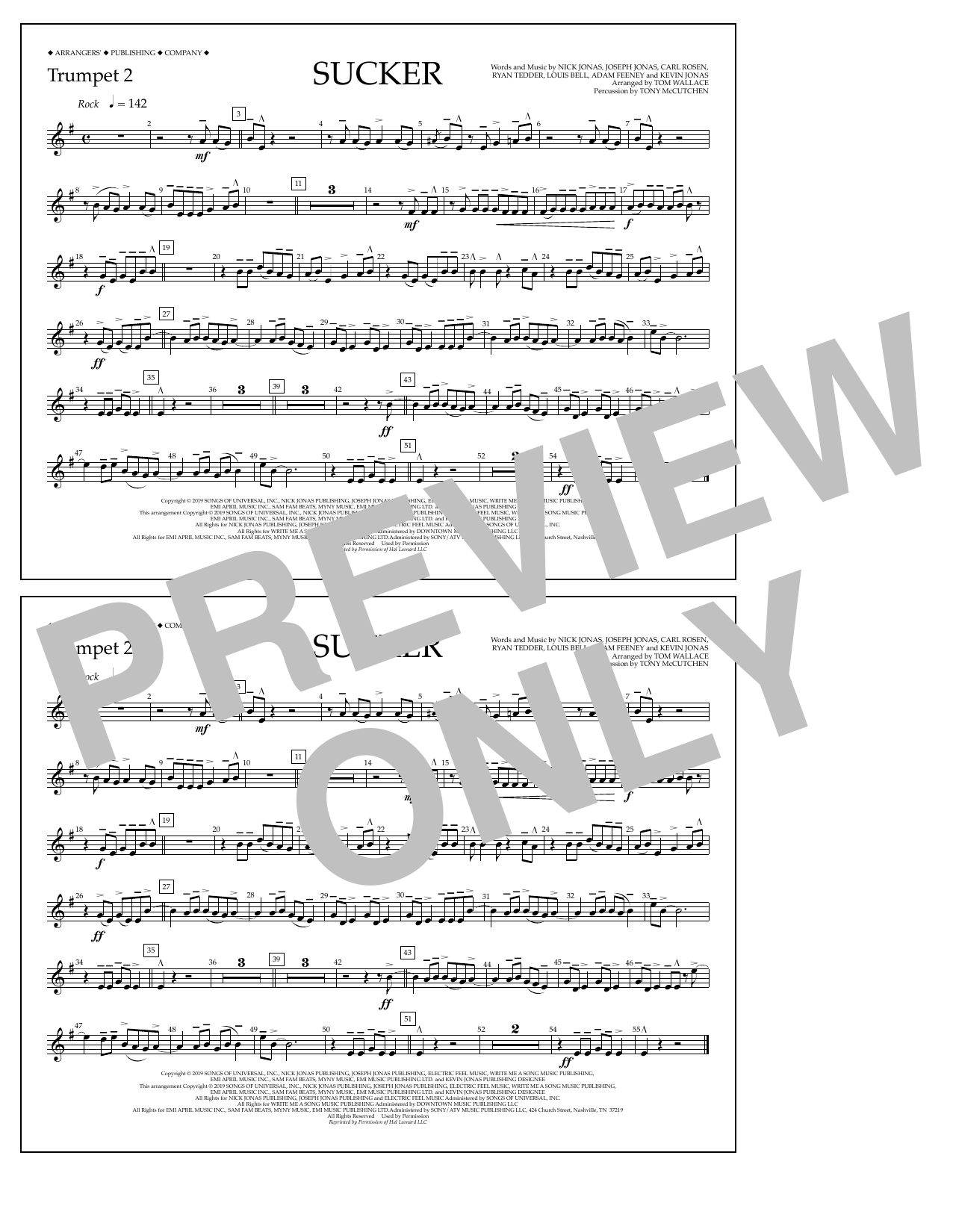 Jonas Brothers Sucker (arr. Tom Wallace) - Trumpet 2 sheet music notes and chords