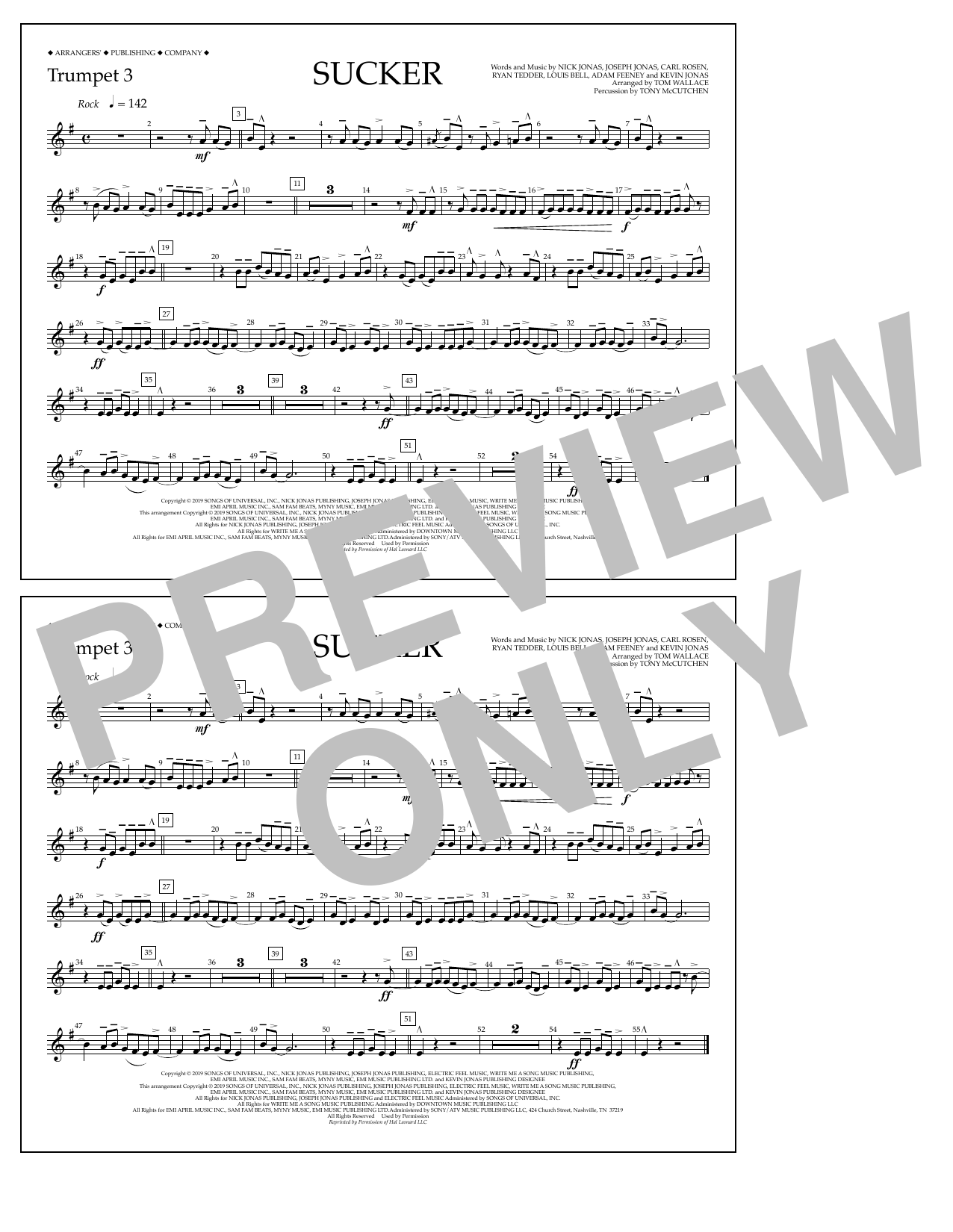 Jonas Brothers Sucker (arr. Tom Wallace) - Trumpet 3 sheet music notes and chords