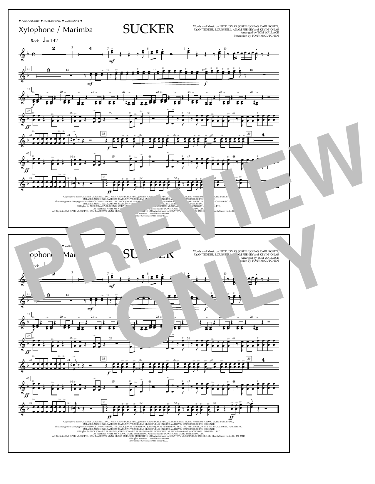 Jonas Brothers Sucker (arr. Tom Wallace) - Xylophone/Marimba sheet music notes and chords. Download Printable PDF.