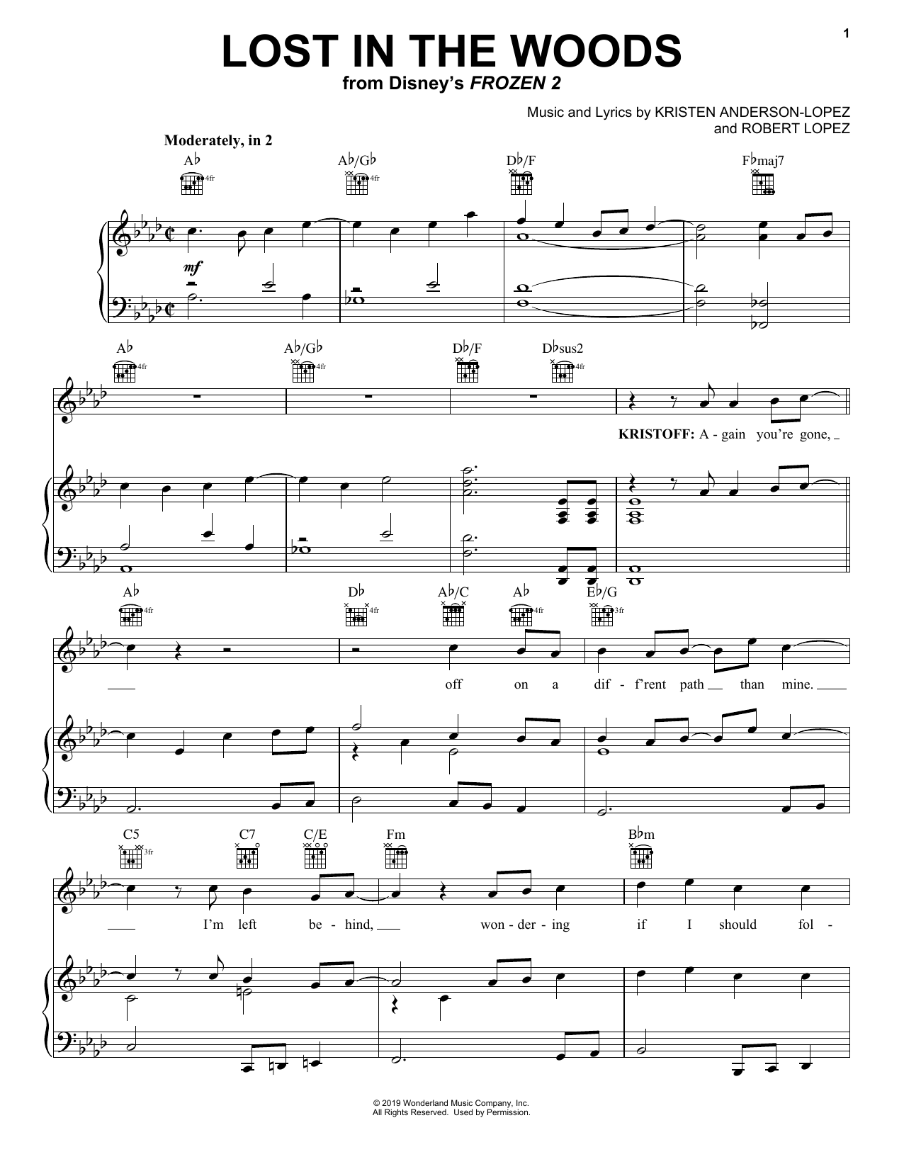 Jonathan Groff Lost In The Woods (from Disney's Frozen 2) sheet music notes and chords