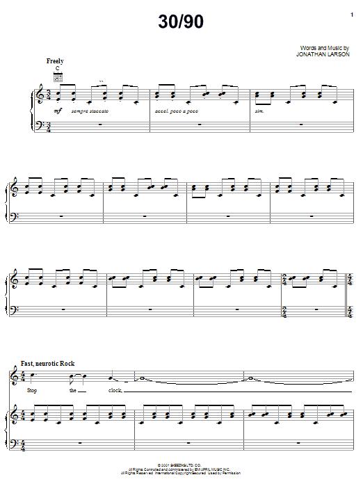 Jonathan Larson 30/90 sheet music notes and chords. Download Printable PDF.