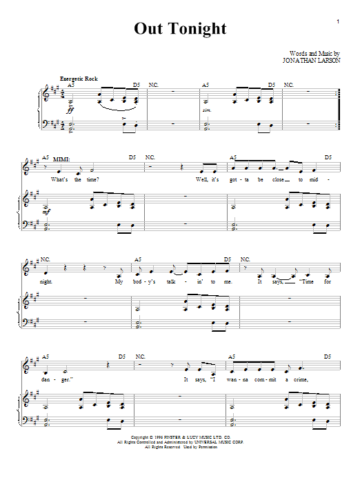 Jonathan Larson Out Tonight sheet music notes and chords. Download Printable PDF.