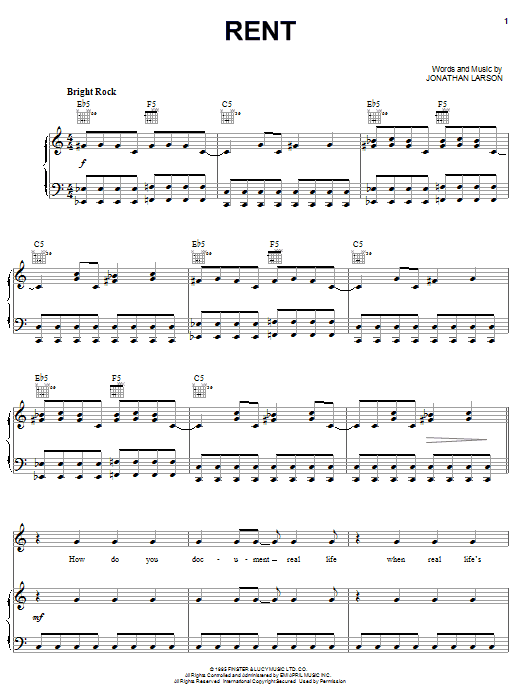 Jonathan Larson Rent sheet music notes and chords. Download Printable PDF.