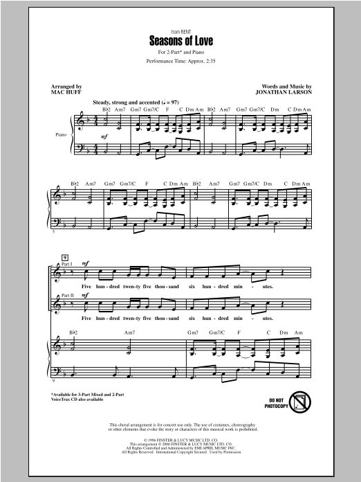 Jonathan Larson Seasons Of Love (from Rent) (arr. Mac Huff) sheet music notes and chords. Download Printable PDF.