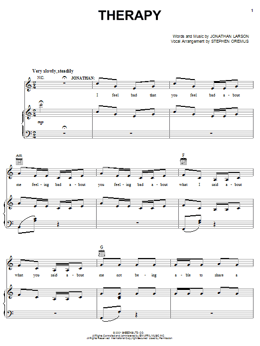 Jonathan Larson Therapy sheet music notes and chords. Download Printable PDF.