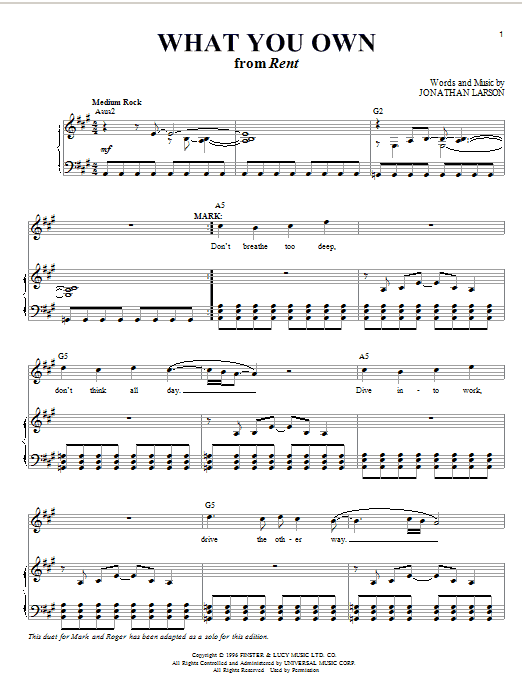 Jonathan Larson What You Own sheet music notes and chords. Download Printable PDF.